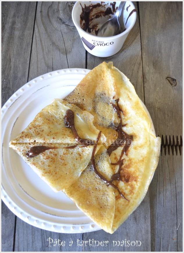 recette équilibrée de crêpe garnie de pâte à tartiner maison pour un dessert ou un goûter