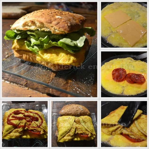 Recette de l'hamburger  l'omelette et au chorizo faites avec des oeufs bio
