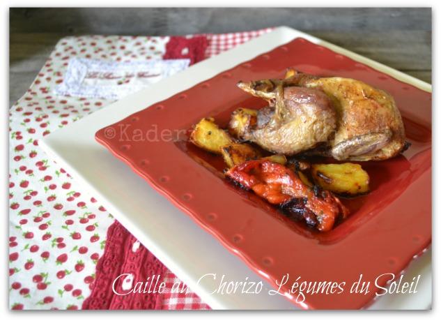 Recette de caille au chorizo et légumes du soleil servi dans une assiette rouge sur une assiette blanche