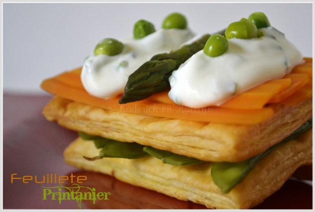 Feuilleté printanier bio au carotte, asperge verte, petit pois gourmand et crème fraîche  - Menu Paques