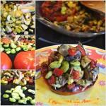 Cuisson des légumes du soleil à la plancha avec aubergine, courgette, tomate, poivron, fève pour Culino Versions