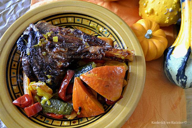 Recette de souris d'agneau en tajine aux légumes d'automne pour le thème de Culino Versions - Kaderick en Kuizinn©