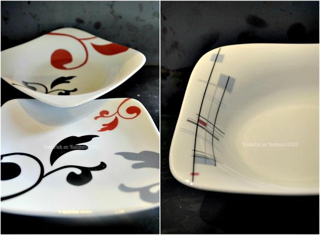 Service de table noir et rouge - Service a vaisselle design ...