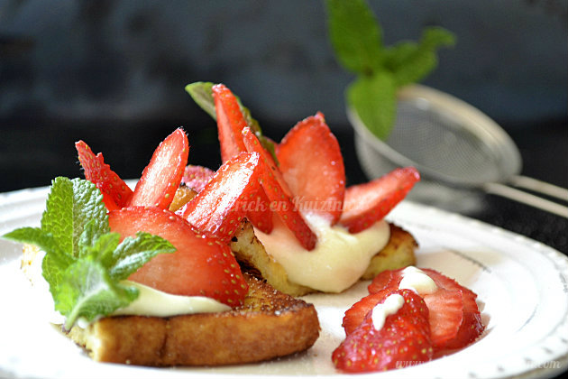 Recette tartines de brioches au mascarpone et fraises bio, un dessert frais - Kaderick en Kuizinn©
