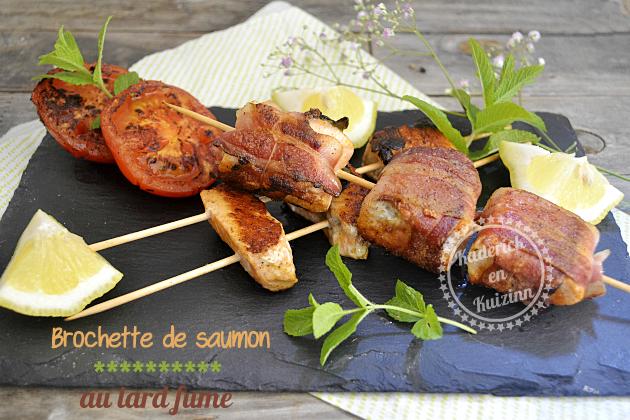 Recette plancha brochettes de saumon au lard fumé découpé en cubes dans des pavés de saumon bio