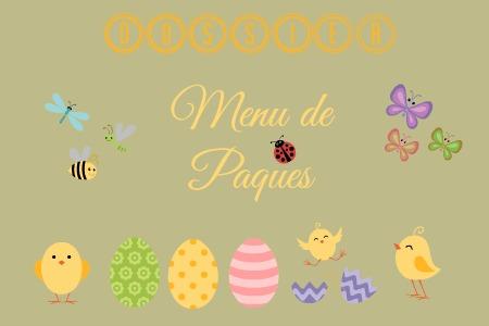 Logo dossier menu de pâques avec des recettes d'agneau, de veau, de légumes printaniers et desserts