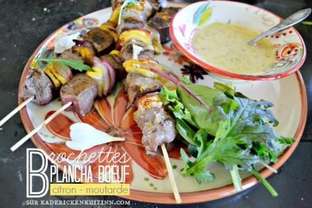 Brochettes bœuf - Plancha bœuf au citron et moutarde - Menu Paques