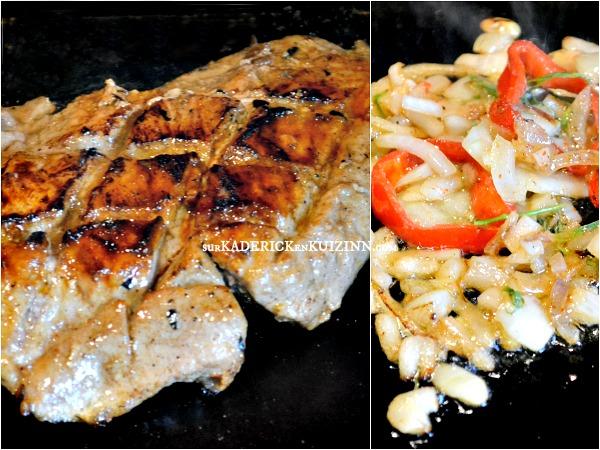 Carbonnade plancha grillade de porc marin e citron et miel - Carbonade de porc grillee ...