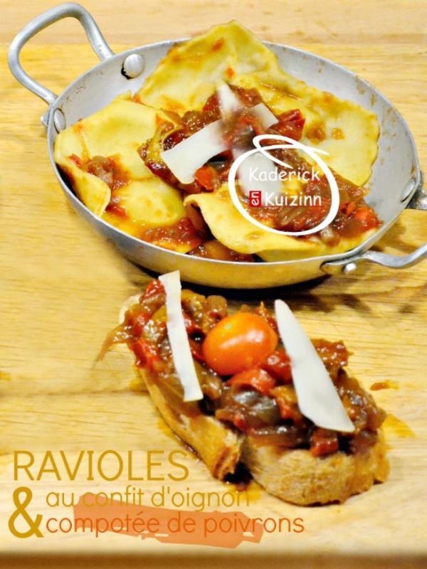 Ravioli – Raviole de pâte fraiche au confit d'oignon et poivrons
