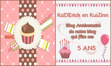 Logo Blog anniversaire - Notre blog Kaderick en Kuizinn fête ses 5 ans - concours 5 ans