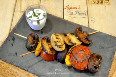 Recette legumes plancha - Brochette légume saison plancha chez Kaderick en Kuizinn