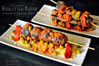 Recette boulettes boeuf ou Kefta à la plancha et légumes épicés chez Kaderick en Kuizinn