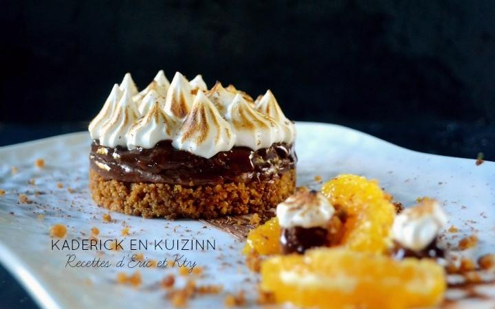 Cheesecake sans cuisson pain d'épices, ganache chocolat meringuée à l'orange