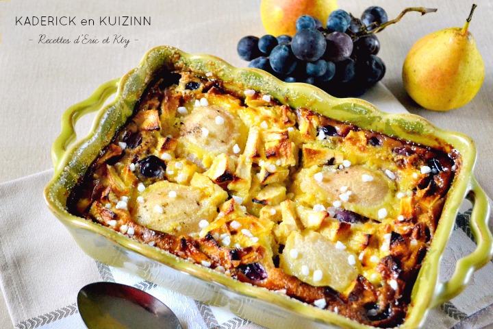 Clafoutis aux pommes, poires, raisins à la vanille