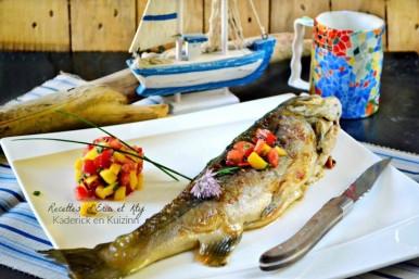 Recette omble chevalier en cuisson plancha et salsa à la mangue